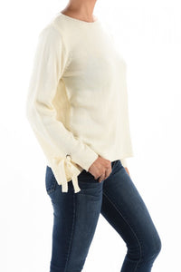 Tie Sleeve Cream Sweater