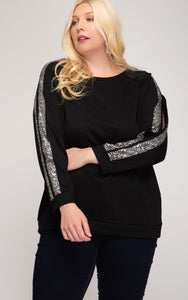 Sequin Sleeve Knit Top - CURVY