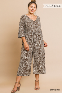 Animal print wide leg jumpsuit-CURVY