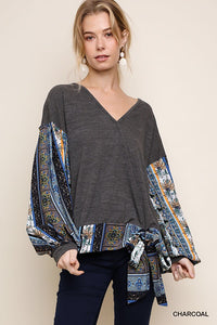 Floral paisley puff sleeve top