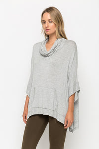 Lightweight Cowl Neck Poncho Top - ONE SIZE