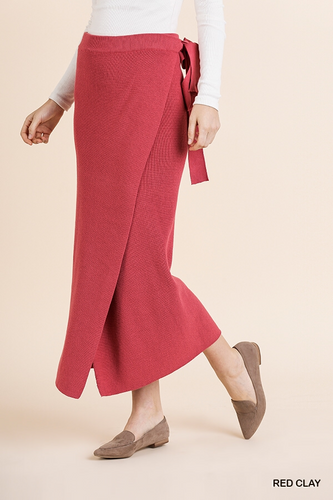 Ribbed Midi Wrap Skirt with Waist Tie and Asymmetrical Slit