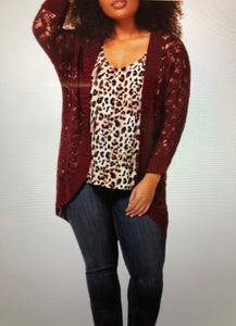 Long sleeve open front sweater - CURVY