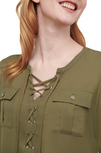 DESIGNER LACE-UP GROMMET BLOUSE-ALL SIZES