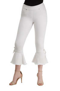 Luxe white crop denim with ruffle hem