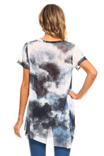 Sky mix print sheer top