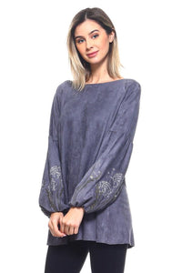 Slate peasant embroidered sleeve top