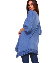 Designer denim blue tunic with ruffle hem