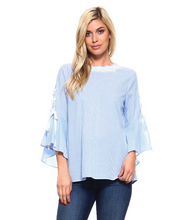 Designer top with lace-up ribbon detail n