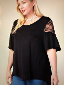 Ruffle and lace short sleeve-BLACK