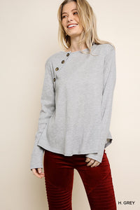 Waffle knit top with button detail