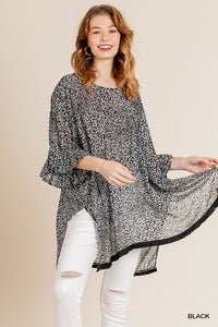 Sheer Animal Print Top with Side Slits