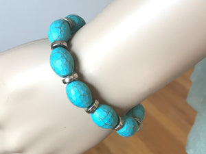 Teal and sliver beaded bracelet