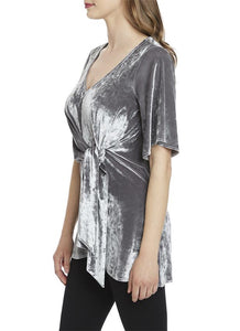 STUNNING designer crushed velvet top with front tie