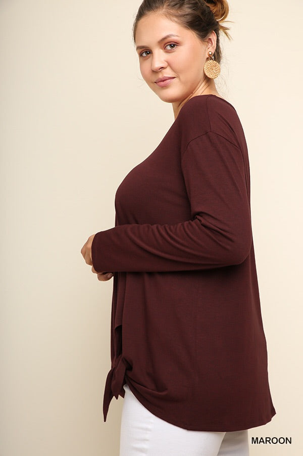Scoop neck with front waist tie top-CURVY