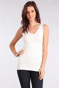 Reversible white V or Scoop neck cami