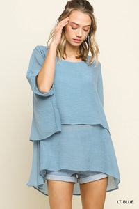 Layered tunic top with cuffed sleeve