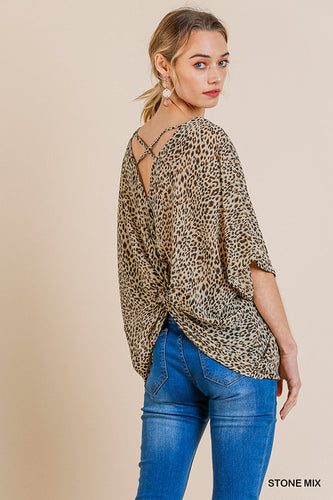 Animal Print Top with Back Criss-Cross Knot Detail
