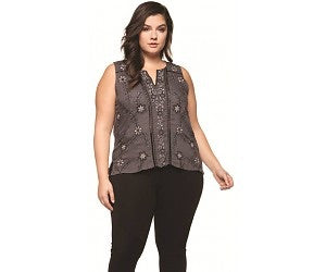 Dex sleeveless embroidered top