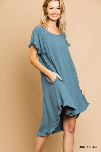 Linen pocket dress with fringe hem