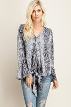 Reptile print v-neck with bell sleeve