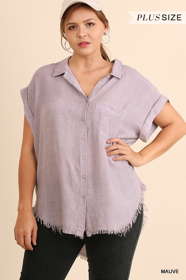 Washed button up top w/ frayed hem-CURVY