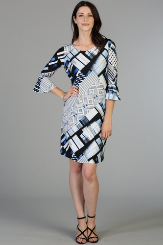 Bell sleeve dress with blue/black print