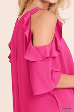 Hot pink cold shoulder with ruffle detail