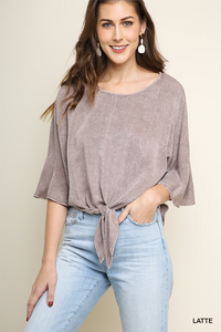 Mineral washed bell sleeve top with front tie