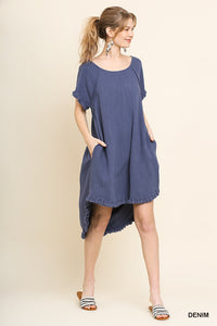 Short Sleeve Linen Pocket Dress with Fringe Hem - ALL SIZES