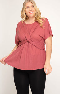 Short Sleeve Twist Front Top - CURVY