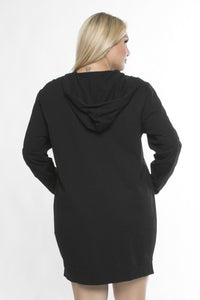 Hoodie dress/tunic with criss cross top