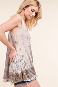 Knit Tank Top with Stone and Lace