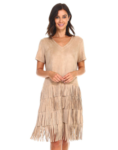 Khaki fringe dress