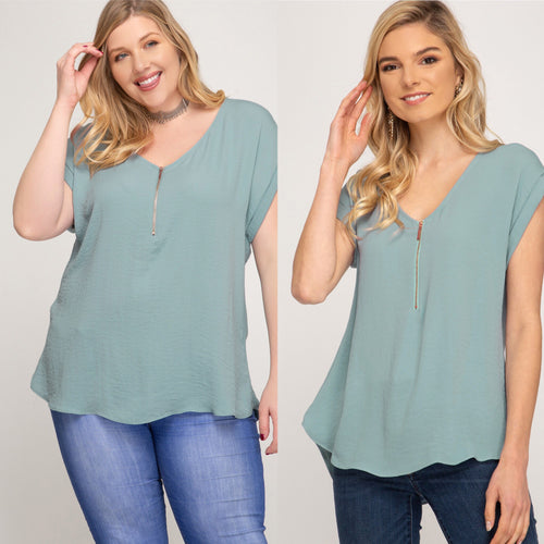 Dusty blue woven top with zipper detail-CURVY AND MISSY