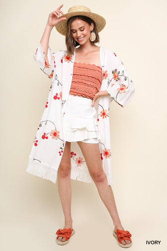 Floral Embroidered Kimono with Tassel Trim