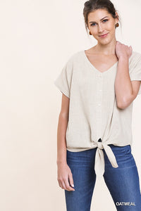 Short sleeve top with front tie