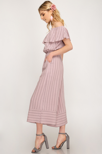 Off shoulder striped culotte jumpsuit