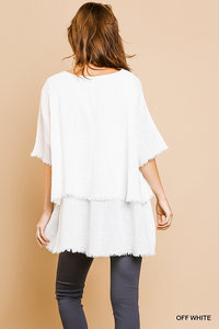 Layered top with frayed hem