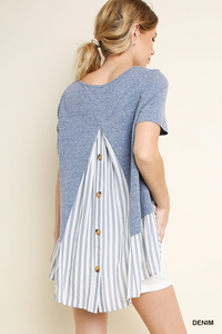 Ruffled hem button back top