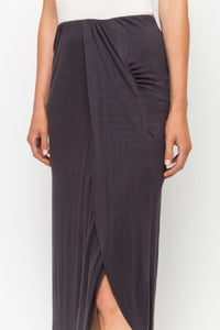 Charcoal jersey knit midi skirt with asymmetrical hem