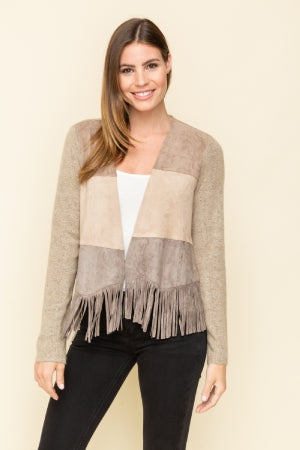 Front suede jacket with fringe