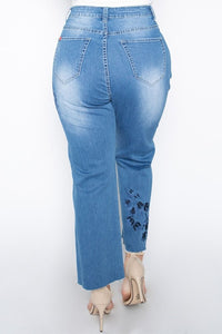 Straight leg denim jean with floral applique-PLUS size