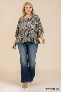 Animal Print Peplum Hem Top