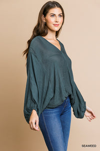 Sheer v-neck top with long puff sleeves