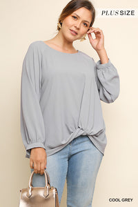 Long sleeve top with gathered front knot - CURVY