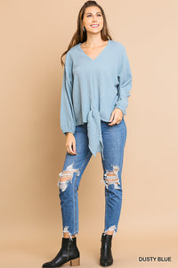 V-neck top with long puff sleeves