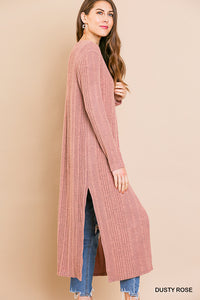 Long sleeve knit cardigan with side slits