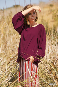 Long sleeve top with gathered front knot