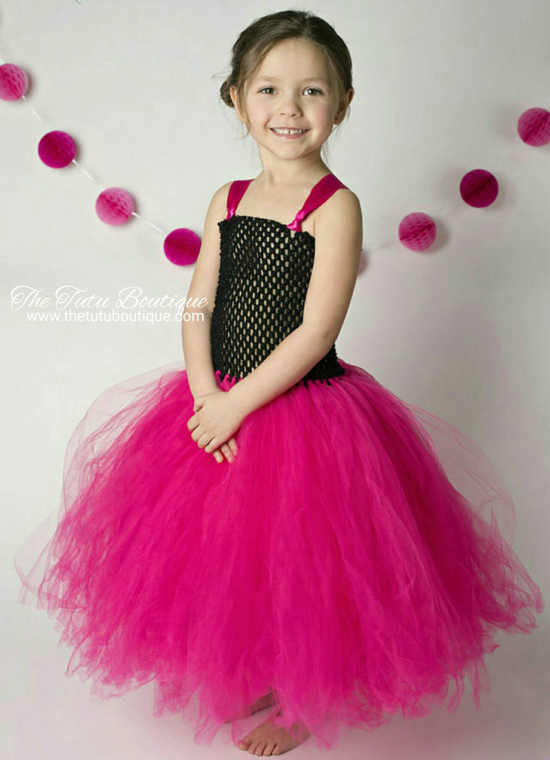 Pink and Black Tutu Dress, Flower Girl Tutu Dress, Wedding, Cute ...